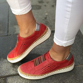 vertvie Slip On Women Sneakers Shallow Loafers Vulcanized Shoes Breathable Hollow Out Female Casual Flats Ladies Comfortable