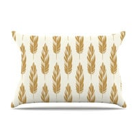 "Amanda Lane ""Feathers Yellow Cream"" Mustard Pattern Pillow Case"