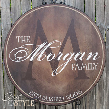 Personalized Family Name Sign, Last Name Sign, Wall Art with Established Date & Monogram, 15""