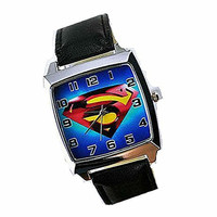 Superman, Clark Kent Logo on a Mens Silver Square Watch with Leather Band