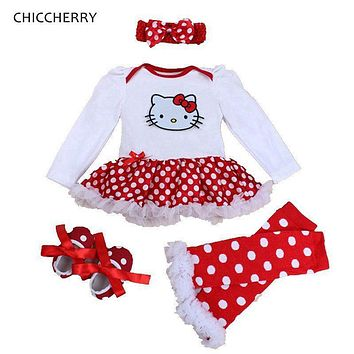 Spring 2017 Hello Kitty Baby Girl Clothes Romper Dress Legwarmers Headband Crib Shoes 4PCS Newborn Tutu Sets Infant Clothing