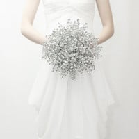 Bridal Bouquet - Luxe sized Bouquet of Beautiful Silver Mirrored Beads - Wedding Bouquet - Fabulous Brooch Bouquet Alternative