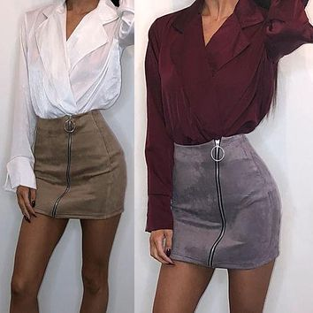 2017 Autumn Winter Women Skirt PU Leather Sexy Mini Skirt Zipper A-line High Waist Women Clothing Femininas