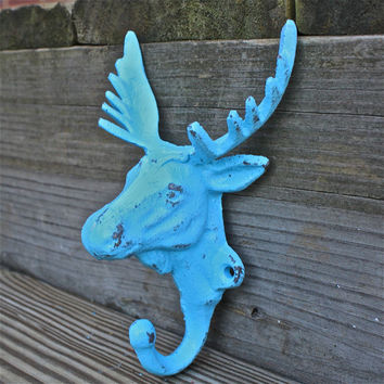 Wall Hook Moose/ Aqua Blue/ Coat rack/ Jewelry by AquaXpressions