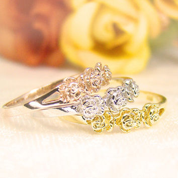 Women's Sterling Silver Roses Ring Floral Ring Gold Rhodium Rose Gold Plated Ring Jewelry