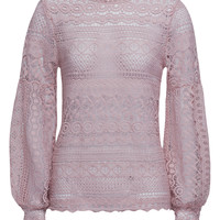 Pink Puff Sleeve Keyhole Back Lace Cut Out Blouse