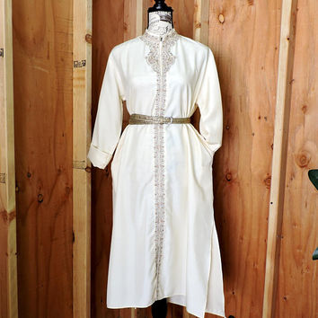 Vintage 60s 70s Kaftan dress / size L XL / Long off white tunic kaftan dress / ethnic boho hippie loose fit maxi festival dress