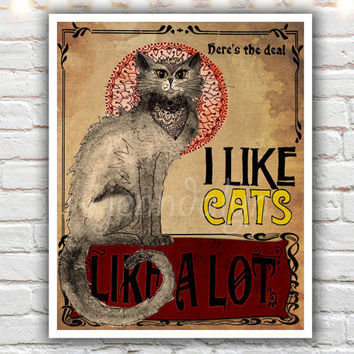 I Like Cats - PAPER PRINT, gift for cat lover, typographic print, le chat noir, cat poster, art nouveau poster, crazy cat lady gift