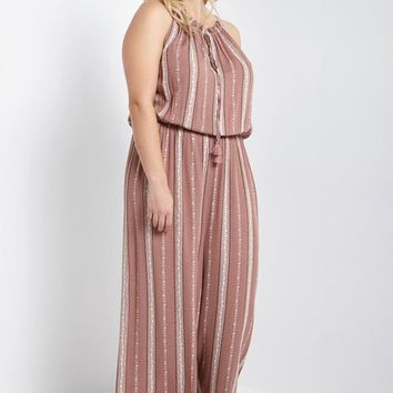Helena Striped Jumpsuit Mauve