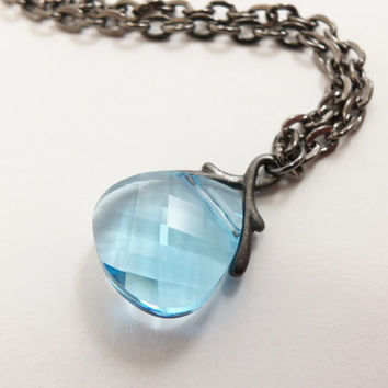 Aquamarine Necklace Crystal Briolette Necklace March Birthstone Light Blue Jewelry Aquamarine Birthstone