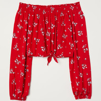 Off-the-shoulder Top - Red/floral - Ladies | H&M US