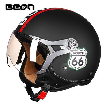 BEON Vintage Route 66 Open Face Scooter 3/4 ECE Approved Motorcycle Helmet