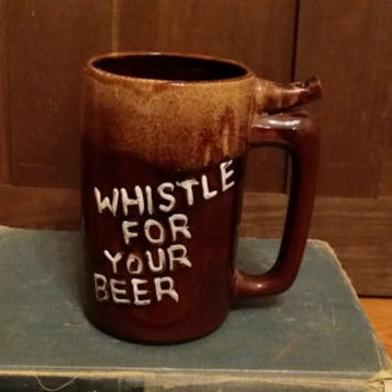 Vintage Glazed Whistle For Your Beer Mug Stein Wet Your Whistle Marked Japan Great Guy Gift