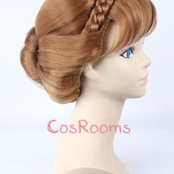 FREE SHIPPING + Free Wig Cap! Snow Queen wigs Frozen Wigs Frozen Snow Queen Anna Brown Light Pink Mixed Weave Ponytail Cosplay Wig