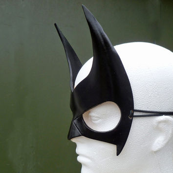 BATWOMAN Mask in Leather. Designed & Hand Crafted in Wales.