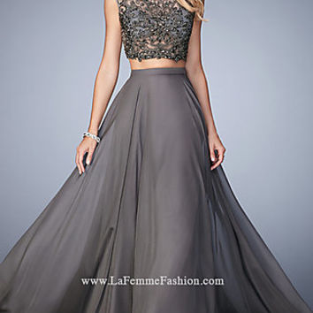 Long Gigi Two Piece High Neck Prom Dress