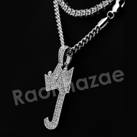 Iced Out  Crown J Initial Pendant Necklace Set (Silver)