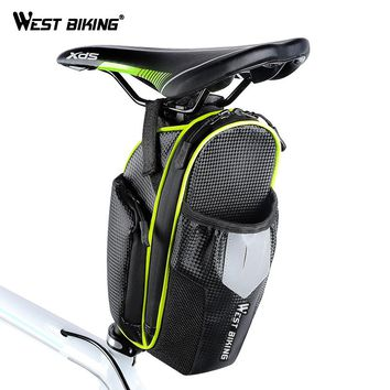 WEST BIKING Fully Waterproof Bicycle Saddle Bag With Water Bottle Pocket Cycling Rear Bags Seat Tail Bag MTB Bike Accessories