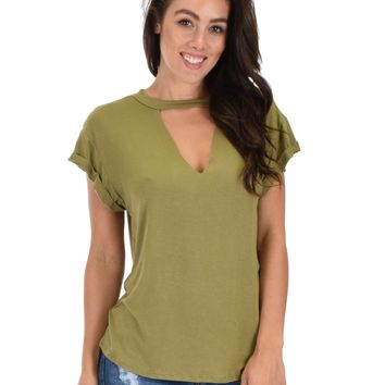 Lyss Loo Unfiltered Raw Edge V-neck Olive Tunic Top