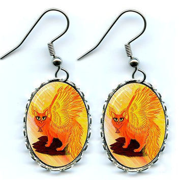 Fire Fairy Cat Earrings Elemental Phoenix Cat Flames Fantasy Cat Art Cameo Earrings 25x18mm Gift for Cat Lovers Jewelry