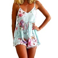 Women's Straps Sleeveless Floral Printed Romper Playsuit Jumpsuit