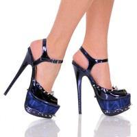 """6""""  3""""/4""""Sandal With Spiked Topline And Platform-Navy Patent PU-BOMBSHELL-11"""