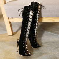 Fashion Lace-Up High Thigh Boots