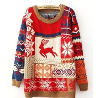 Coffee Neckline Double Layers Thicken Deer Snowflake Fair Isle Pattern Sweater TBHTK1112 from clothingloves