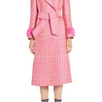 Fendi Pop Genuine Mink Fur Trim Prince of Wales Check Coat | Nordstrom