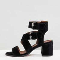 Office Miles Black Suede Buckle Block Heeled Sandals at asos.com