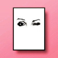 makeup painting lashes winked eyes Typographic Print drawing art gift decor heart  framed quotes bedroom poster tumblr room decor fashion