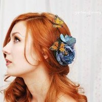 Blue Skies  a whimsical butterfly clip by gardensofwhimsy on Etsy