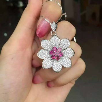 Natural red garnet stone pendant S925 silver Natural gemstone Pendant Necklace trendy big luxurious Sunflower women jewelry