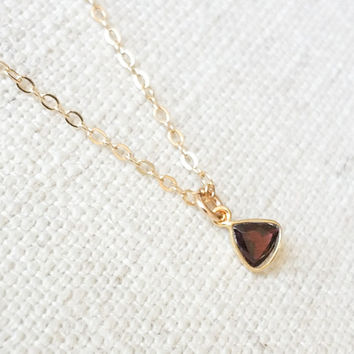 Garnet Necklace, Gold Garnet Necklace, Gold Garnet Triangle Necklace, Garnet Triangle Necklace, Garnet Triangle, Triangle Necklace