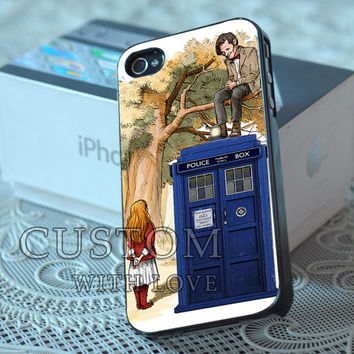 Alice Wonderland and Doctor Who - Rubber or Plastic Print Custom - iPhone 4/4s, 5 - Samsung S3 i9300, S4 i9500 - iPod 4, 5