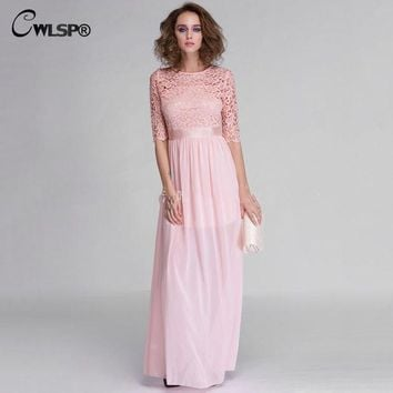 ICIKWQA Hot Sale Women Elegant Lace Long Maxi Dresses Hollow Out Chiffon Half sleeve Evening Wedding Party Dress Plus size 3XL QZ609