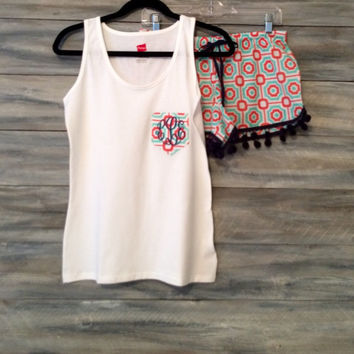Monogrammed Pajama Set with Pom poms * free shipping *