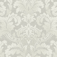 Sample Traditional Damask Wallpaper in Ivory and Neutrals design by Seabrook Wallcoverings