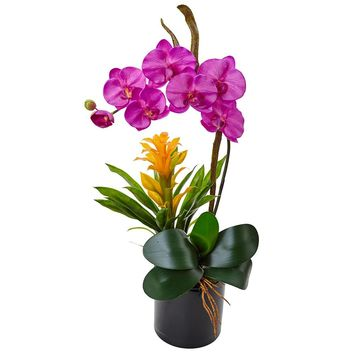 Artificial Flowers -Orange Orchid And Bromeliad In Glossy Black Cylinder