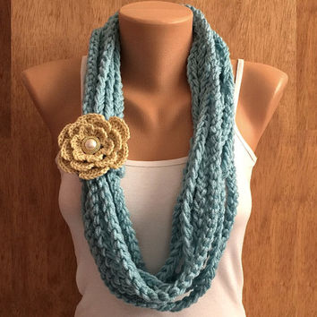 beach blue hand crochet chain Infinity scarf with flower brooch pin