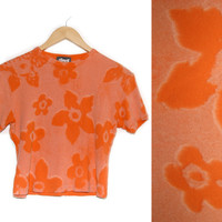 Vintage Floral Shirt~Size Small/Medium~70s 80s 90s Orange Flower Crop Top Tee Shirt~By Cement