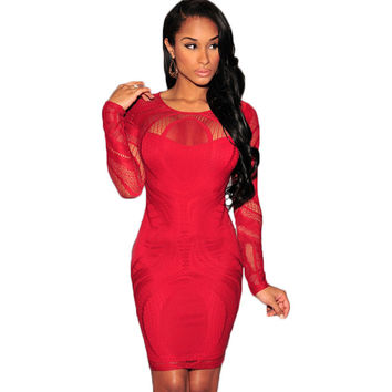 2015 Fishnet Lace Patchwork Party Sexy Club Dress 2015 Women Long Sleeve Bodycon Dress Black See Through Lace Dress Vestido