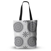KESS InHouse Everything Tote Bag 13 Inch x 13 Inch Julia Grifol Black Mandala White