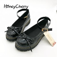 HoneyCherry Japanese styke Doll Shoes Fashion Cosplay Lolita Pointed Maid Uniform Size Students womens Lolita Shoes