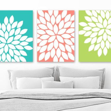 Flower Bedroom Wall Art, CANVAS or Prints, Turquoise Coral Lime Floral Bedroom Wall Decor, Floral Turquoise Coral Bathroom Artwork, Set of 3