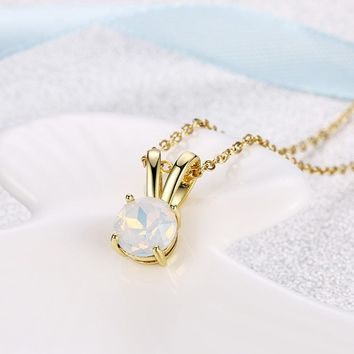 Mock Opal Teardrop Pendant Gold Necklace