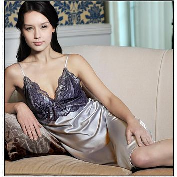 Women Sexy Lace Lingerie Baby Doll Sleepwear Long Nightgown Dress Nightwear
