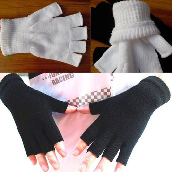 Women Winter Solid Color Fingerless Half Fingers Warm Knit Mittens Gloves = 1958001796