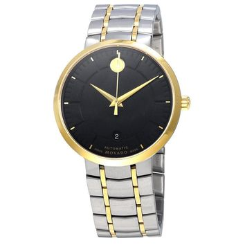 Movado 1881 Black Dial Two Tone Stainless Steel Mens Watch 0606916