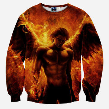 Burning Angel All Over Print Imaliea Man Angel Fire Wings Arms Fantasy Crew Neck Sweatshirt